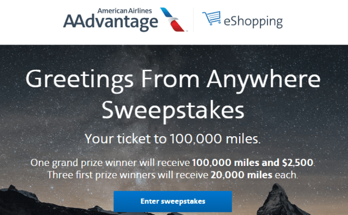 American Airlines AAdvantage eShopping sweepstakes