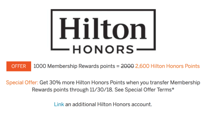 amex 30 transfer bonus to hilton