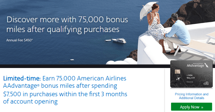 Citi AAdvantage Executive Card 75k bonus