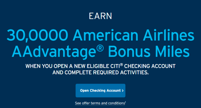 Citi Checking Bonus 30K aa miles