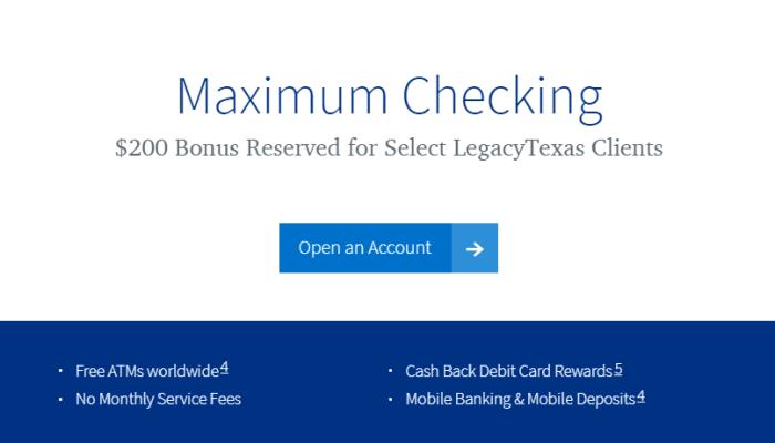 LegacyTexas Bank bonus
