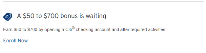 Targeted Citi Checking Bonuses