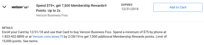 Verizon Business Fios Amex Offer