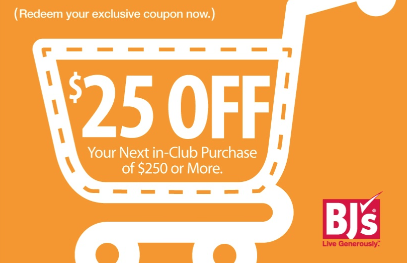 BJ's, Printable Coupon for $25 Off $250 In-Club