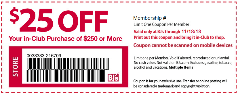 Expired] BJ's, Printable Coupon for $25 Off $250 In-Club