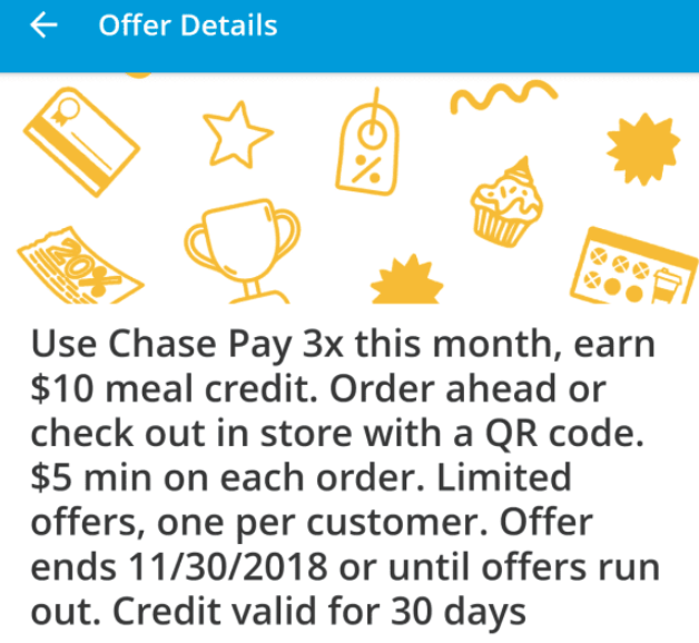 chase pay 10 meal credit