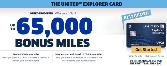 Chase United MileagePlus Explorer 65K Bonus