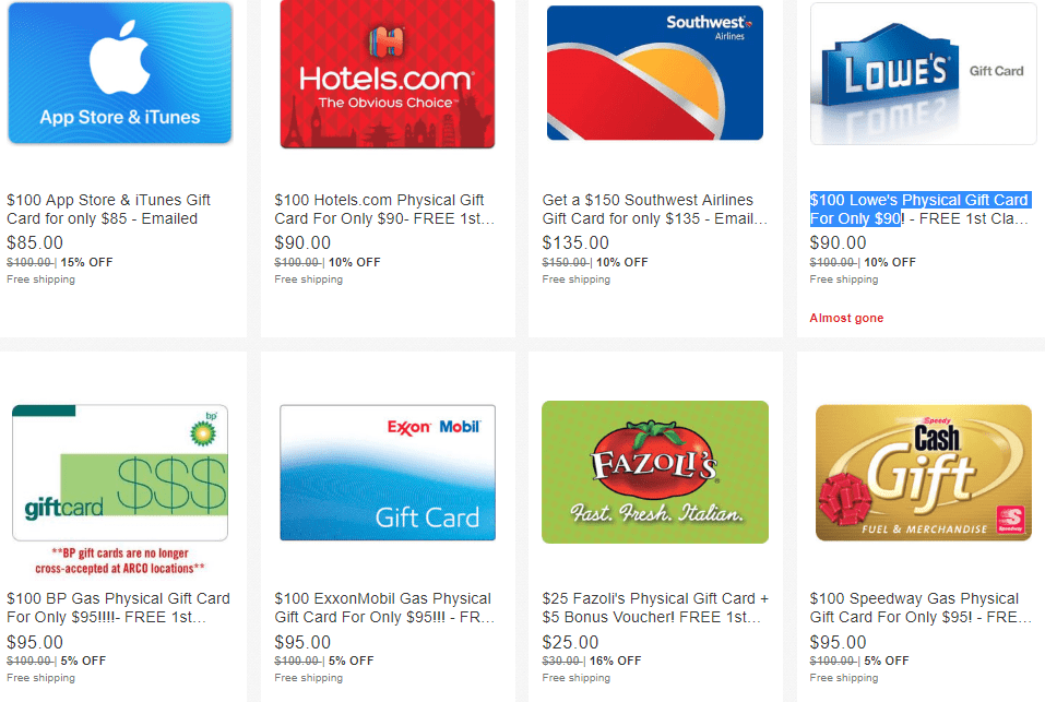 eBay Gift Card Sale: Staples, Lowe's, iTunes, Southwest and More