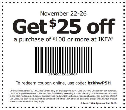 IKEA Coupon, $25 Off $100 Online and In-Store (11/22-11/26