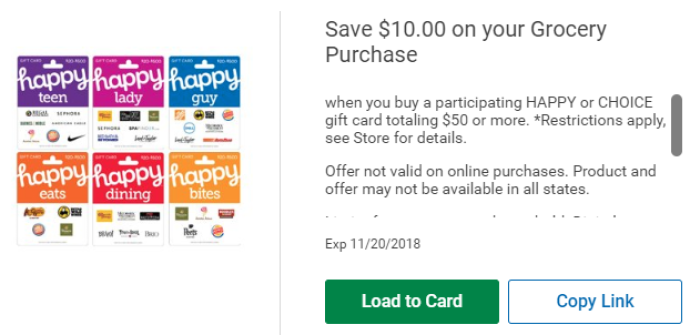 20 Grocery Savings At Kroger With Happy Gift Card Purchases Plus