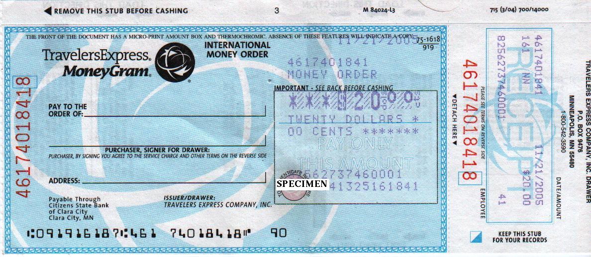 money order from walmart