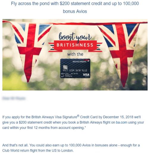 Chase British Airways Card 100K + $200 Offer