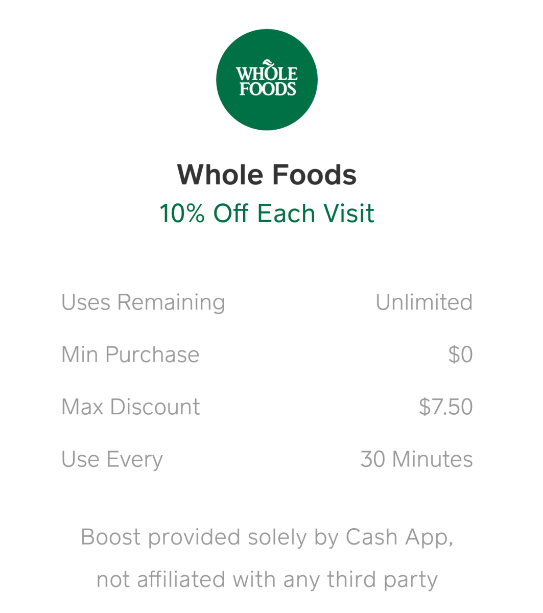 Cash App Debit Card, 10% Off Whole Foods, Chipotle and More