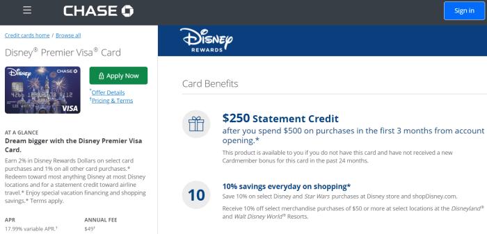 Chase Disney Premier Visa Card 250 bonus