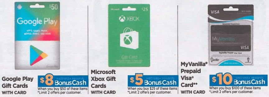 Rite Aid Earn Bonus Cash Rewards On Google Play Xbox Myvanilla