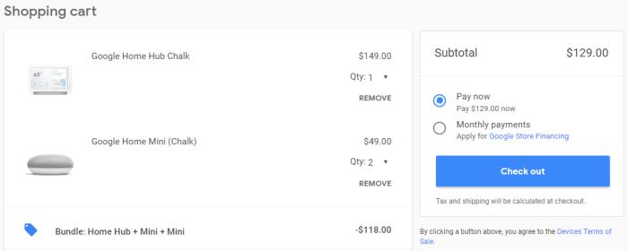 Google Home Hub + 2 Google Home Minis for $129