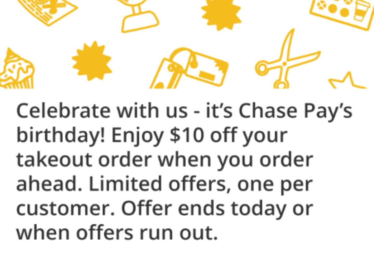 Chase Pay, Free $10 to Spend on Food When You Order Ahead