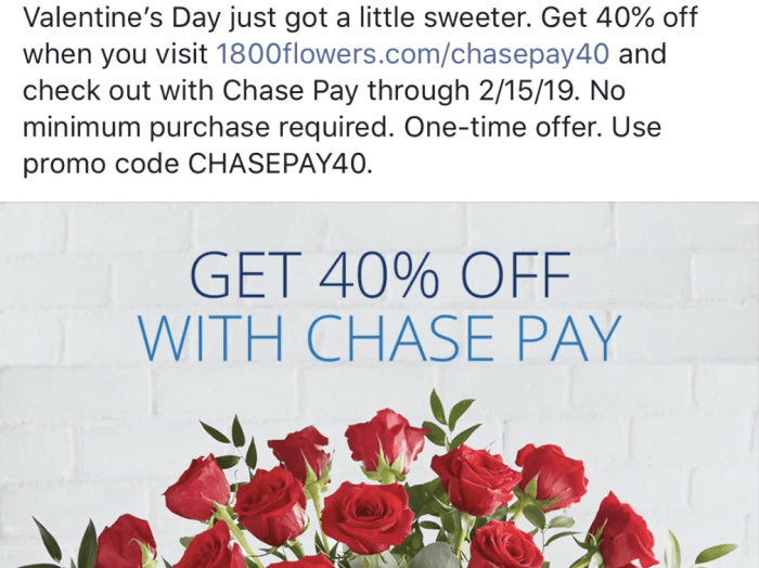 Save 40% at 1800Flowers with Chase Pay