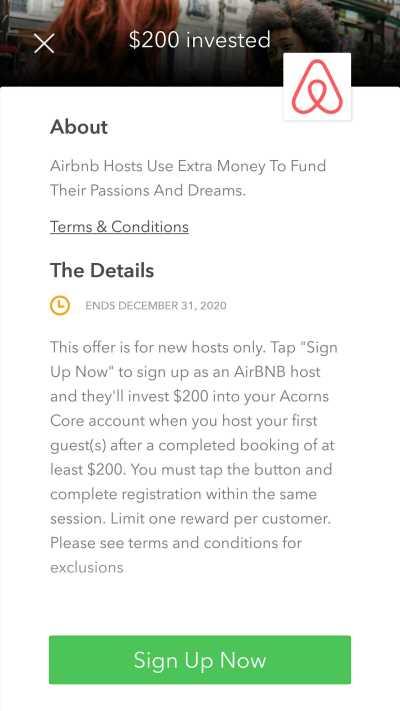 acorns airbnb