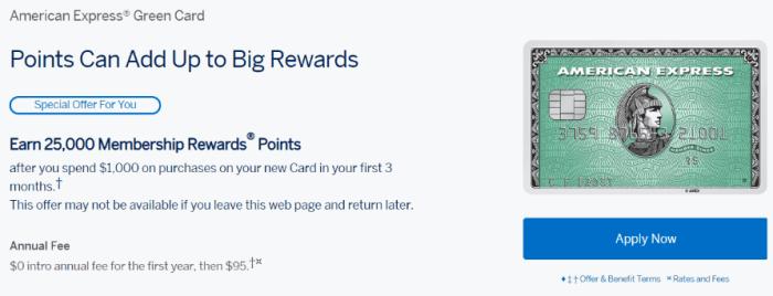 amex green card 25K bonus