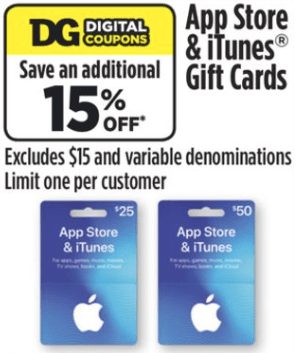 dollar general itunes discount
