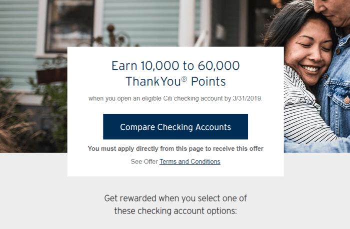 thankyou Citi Checking Bonuses