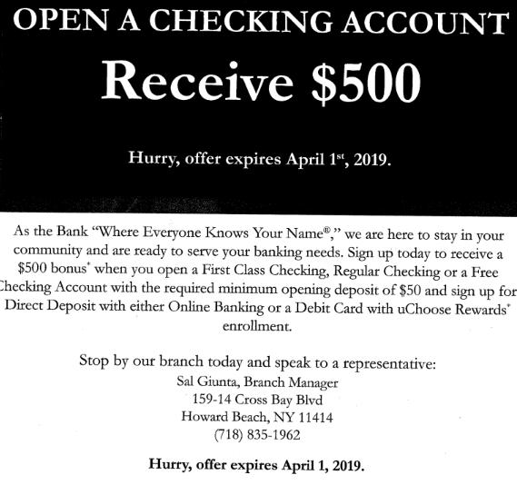 First National Bank of Long Island bonus