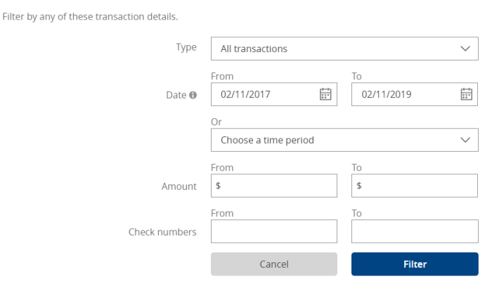 search chase transactions