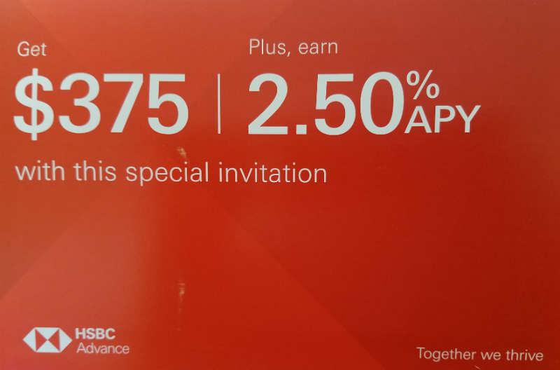 Expired] HSBC Bank, $375 Bonus and 2 50% APY 12-Month CD (Targeted
