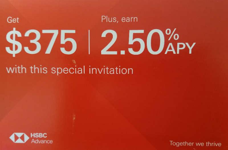 Expired] HSBC Bank, $375 Bonus and 2 50% APY 12-Month CD