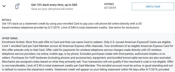 10% off phone bill amex offer