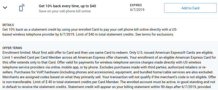 10% off phone bill amex offer