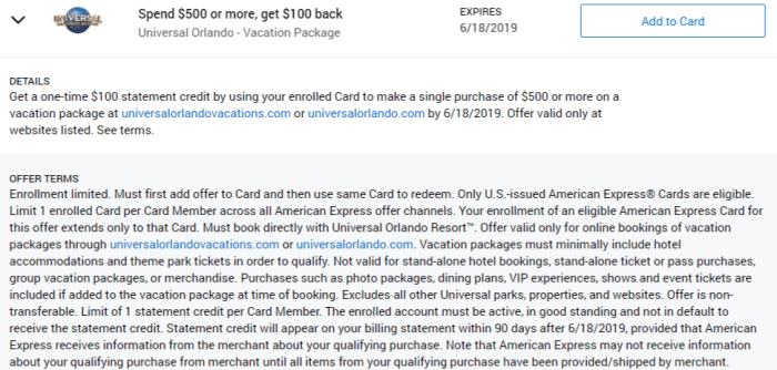 Universal Orlando Amex Offer