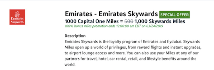 Transfer Capital One Miles to Emirates