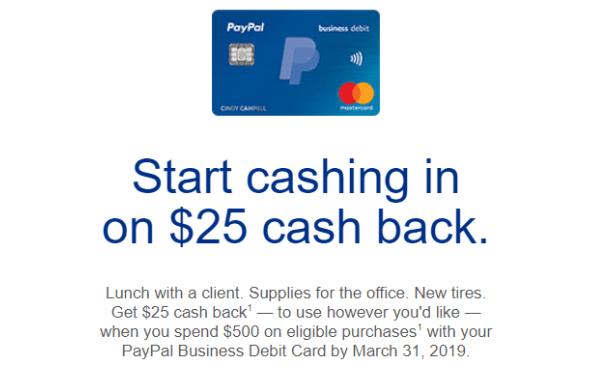 PayPal Business Debit Card spending bonus