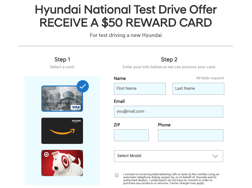 Get A $50 Gift Card for Test Driving a New Hyundai