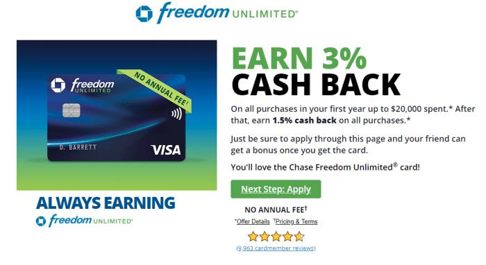 Chase Freedom Unlimited 3x bonus