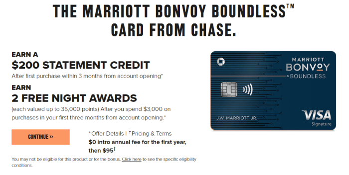Chase Marriott Bonvoy Boundless signup bonus