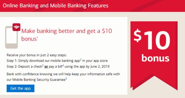 bank of america mobile app bonus