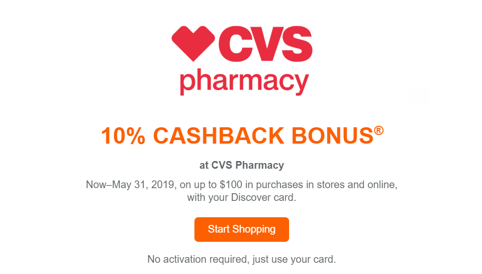 Save 10% at CVS with Discover It Card (Targeted)