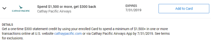 Cathay Pacific Amex Offer