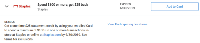 Staples Amex Offer