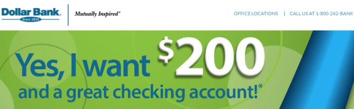 Dollar Bank $200 Bonus
