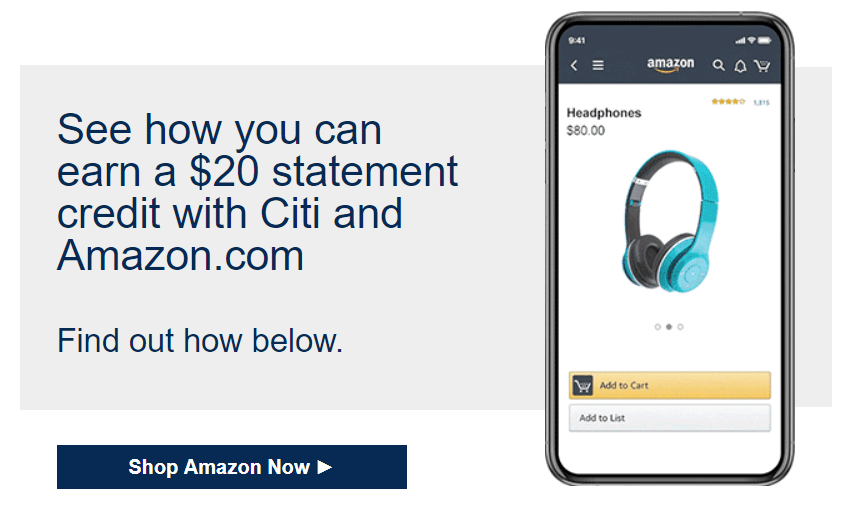 Save $20/$25 on Amazon with Targeted Citi Offer
