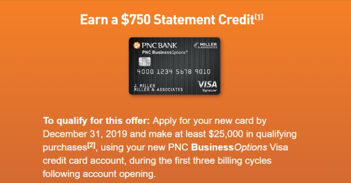 PNC BusinessOptions Visa $750 bonus