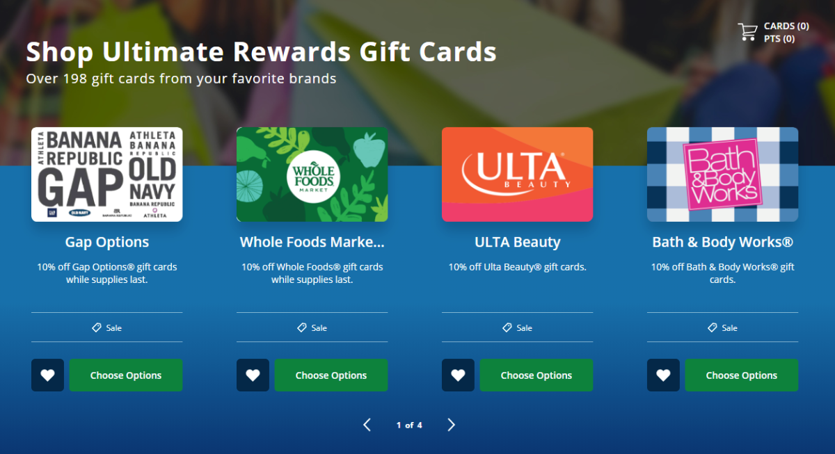 10% Off Select Gift Cards When You Redeem Chase Ultimate Rewards