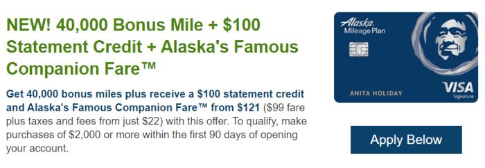 bank of america alaska card 40k plus $100