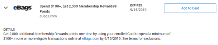 eBags Amex Offer