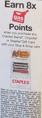 Stop&Shop/Giant/Martin's fuel points