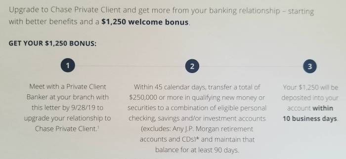 chase private client bonus